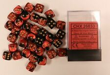 Chessex Gemini Opaque 12mm d6 Black Red with Gold 36 Dice Block CHX 26833