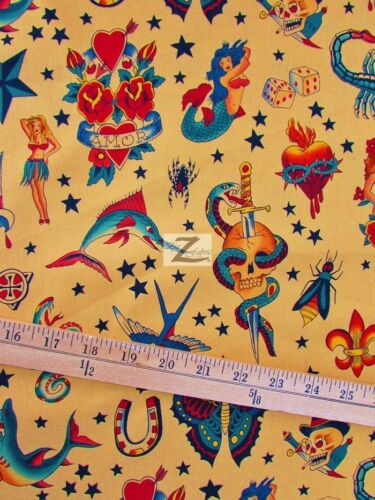 FH-94 TATTOO TAN BY ALEXANDER HENRY COTTON FABRIC BY THE YARD CLOTHIING DECOR