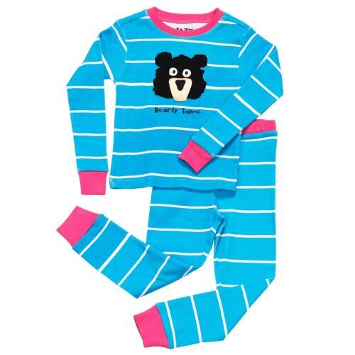 LazyOne Girls Bearly Tame Kids PJ Set Long Sleeves