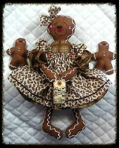 ~~~Primitive Raggedy Gingerbread Doll w/Babies~PATTE<wbr/>RN #39