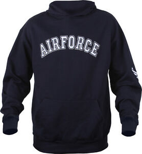 Image is loading Navy-Blue-Embroidered-Air-Force-USAF-Pullover-Hooded- c9f4ec9569d