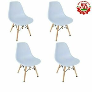 Elegant-Set-of-4-Mid-Century-Modern-Style-Dining-Side-Chair-Wooden-Leg-Home-Whit