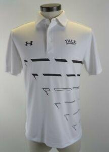 Under-Armour-Yale-University-Golf-Polo-Shirt-Grey-White-Sz-M-Heat-Gear
