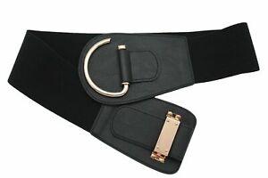 New Casual Women Black Fabric Elastic Belt Silver Metal Handcuff Buckle Size S M