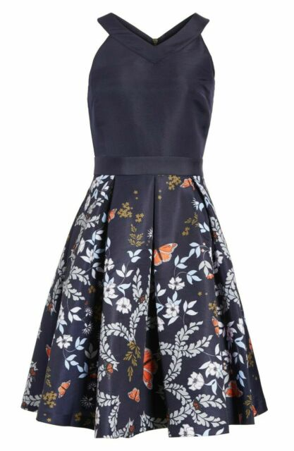 Dress Ted Baker London Size 4 Blue Purple Short Sleeves Back Zipper Small Vintage Apparel