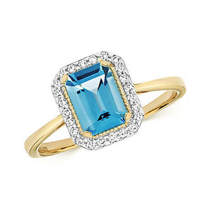 Suizo-Topacio-Azul-amp-Diamante-Anillo-Oro-Amarillo-Compromiso-7x5mm-Piedra