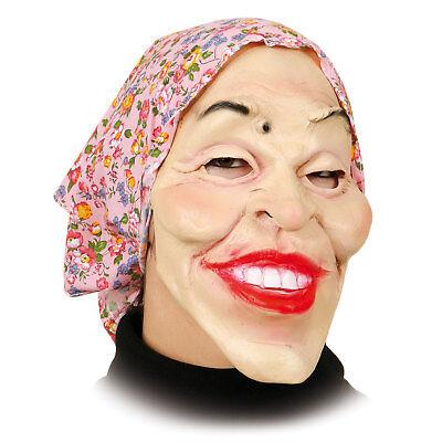 Maske Alte Frau Mit Kopftuch Oma Lustig Grinsend Großmutter Karneval Hexe Larve Ebay