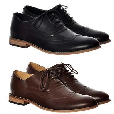 Mens Boys Irwell Smart Brogue Shoe Leather Look Work Wedding Evening Black Brown Gesundheit FöRdern Und Krankheiten Heilen