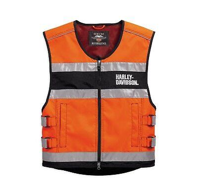 L Orange Harley-Davidson Hi-Visibility Reflective Vest Warnweste Gr Weste