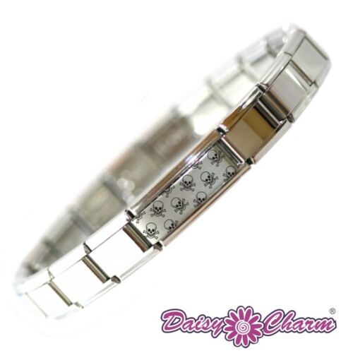 Daisy Charm fits Nomination Italian Charms Starter Bracelet SKULL PATTERN EMO