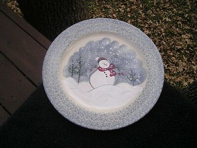 Patton Pottery Snowman Red Scarf Green Trees Blue Sponged Rim White Dinner Plate & snowman dishes collection on eBay!