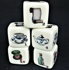 5 Dice Die Victorian English Pictures Specialized Game Top Hat Key Scroll Teacup