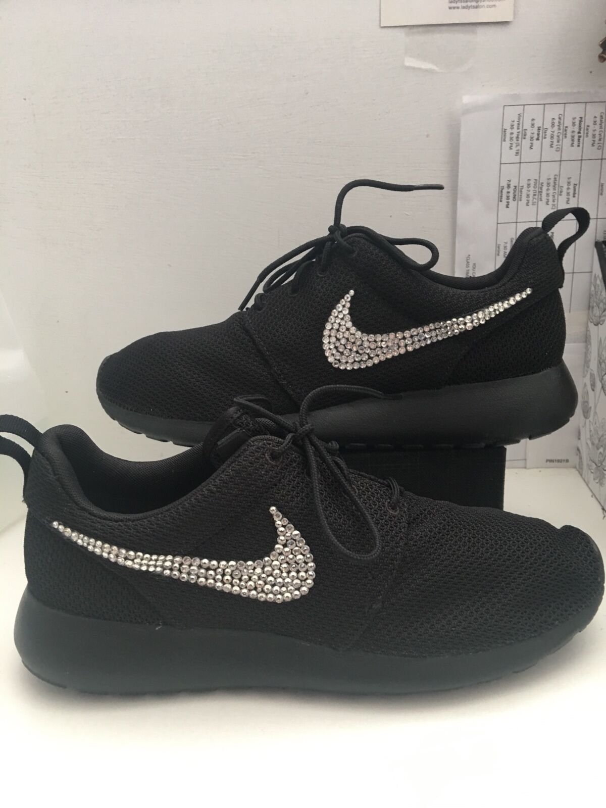 Nike 511881 026 Womens Size 10.5 Rosche One Black Sequined Running Sneakers Shoe