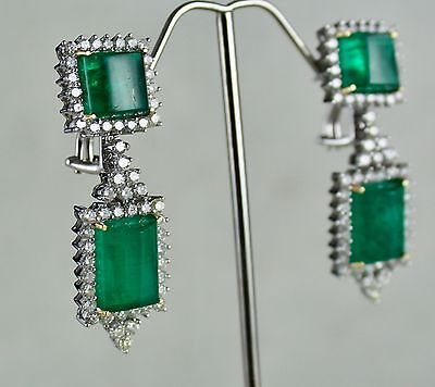 34.80CTS NATURAL CABOCHON ZAMBIA EMERALD DIAMOND EARRING IN 18K GOLD