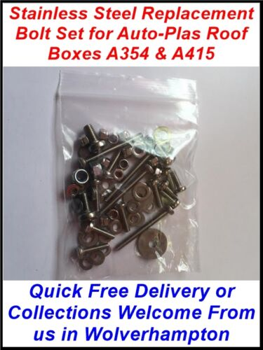 REPLACEMENT STAINLESS STEEL BOLT SET FOR AUTO-PLAS ROOF BOX TOP BOX A354 A415