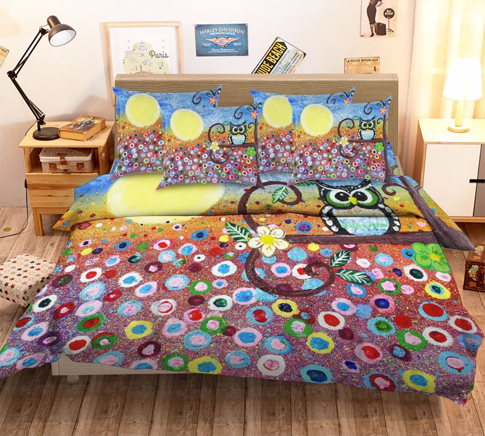 3D Owl Moon Flower 7 Bed Pillowcases Quilt Duvet Cover Set Single Queen AU Lemon