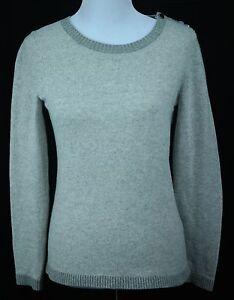 Women-039-s-Banana-Republic-Grey-Italian-Wool-Cashmere-L-S-Crewneck-Sweater-Sz-S