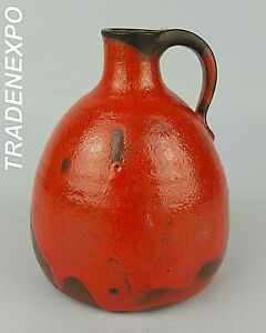 Vintage-60-70s-STUDIO-ART-POTTERY-Orange-Vase-RUSCHA-STYLE-Fat-Lava-Era-German