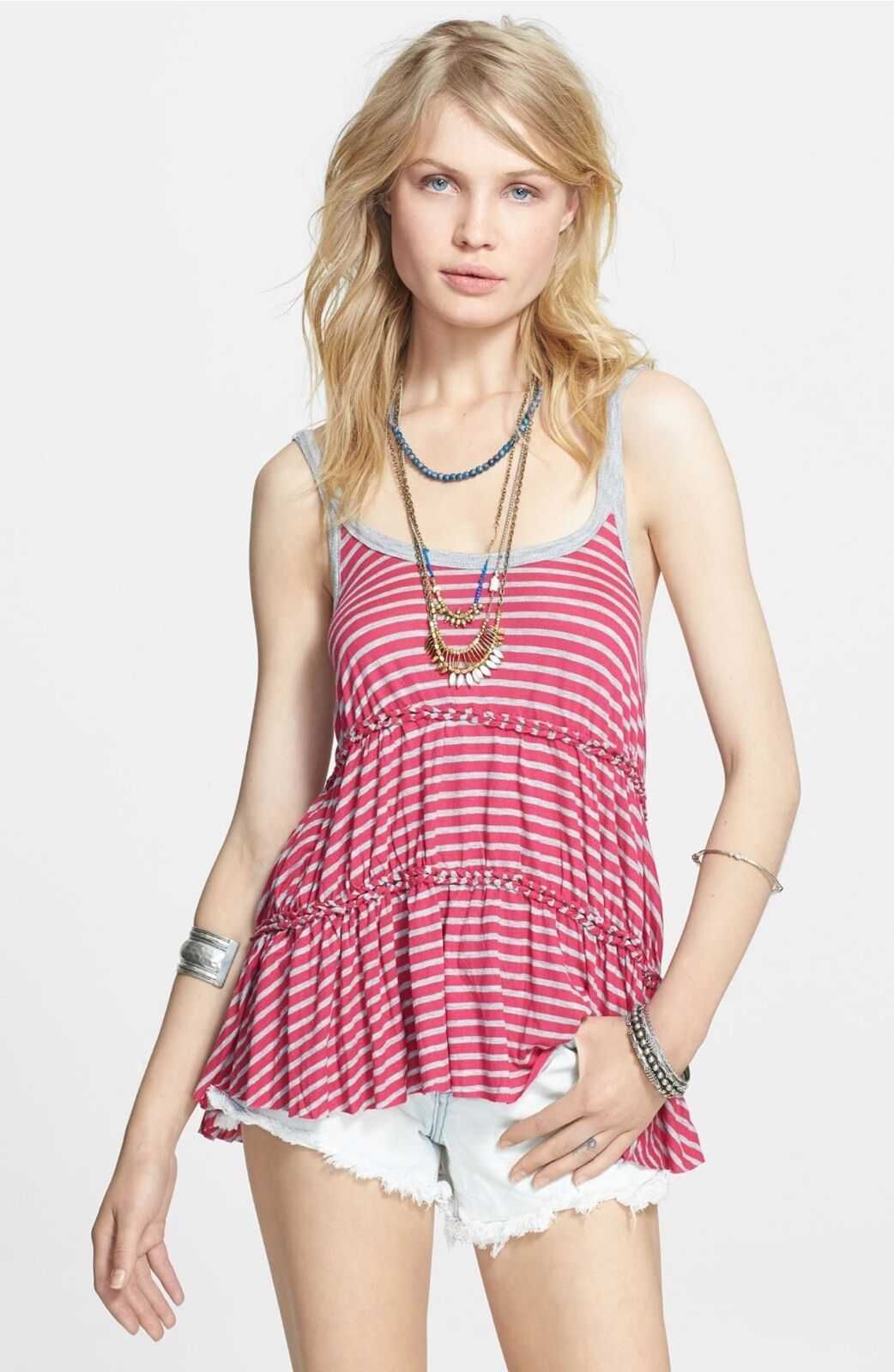 NWT  Free People 'Florence' Stripe Tiered Tank   SZ S M   A327
