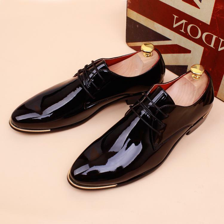 Men's Casual Pointed toe Patent Leather Wedding Formal Dress shoes Oxfords new