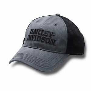 Harley-Davidson Men s Embroidered Skull   H-D Text Mesh Trucker Cap  (BCC119975) 5bf62499895