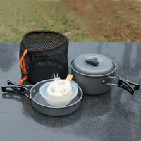 8PCS Outdoor Camping Cookware Cooking Picnic Bowl Pot Pan Set Survival Set For 2