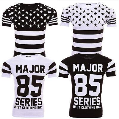 Modisches Styler T-Shirt schwarz-weiß USA Flagge Stars Stripes Football S-XL Neu