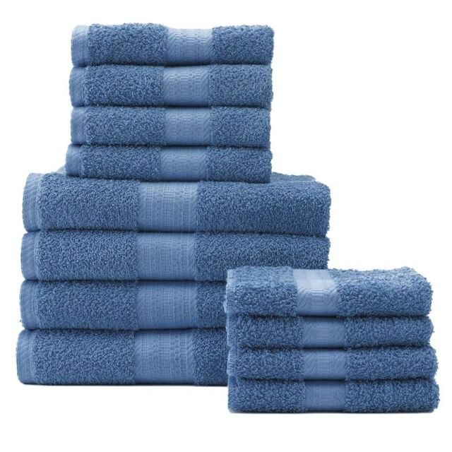 Bath Towel Set 12 PACK The Big One NEW Ocean Blue With Hand Towels U0026  Washcloths