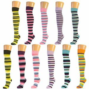 Multicoloured-Thick-Striped-Design-Over-The-Knee-Socks