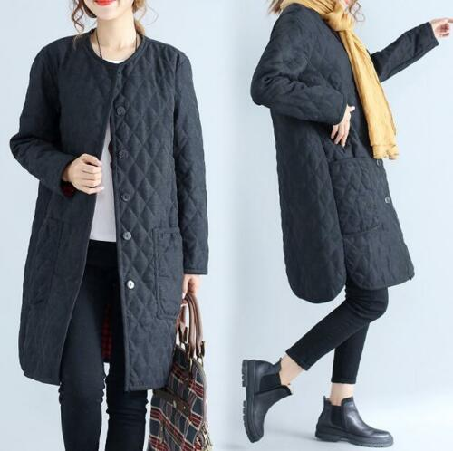 Womens Black Slim Fit Cotton Plus Sz Warm Overcaots Coats Casual Jackets Fashion