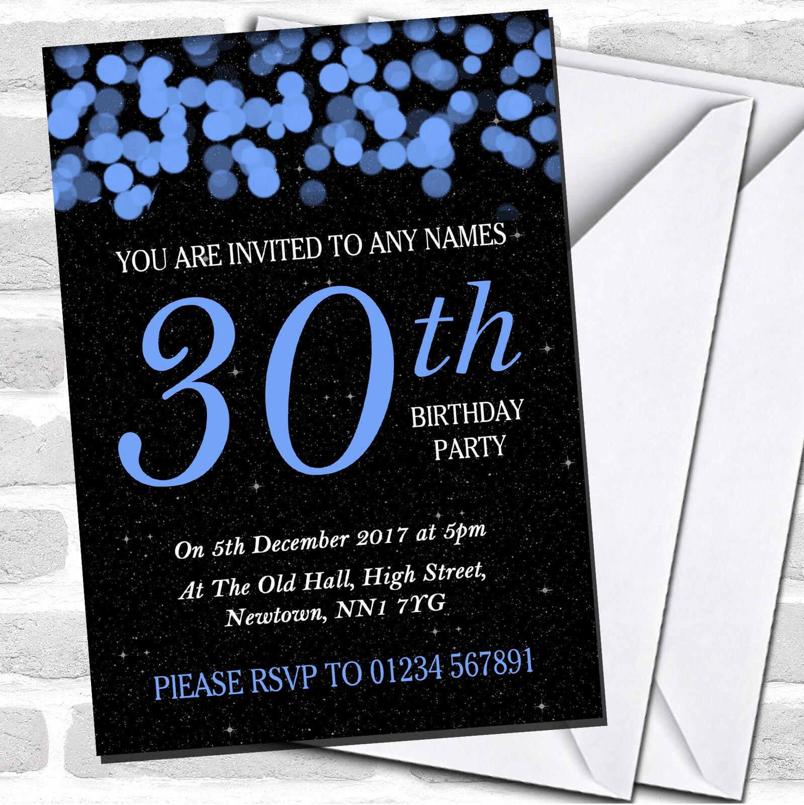 azul Bokeh & Estrellas 30th Cumpleaños Fiesta Invitaciones