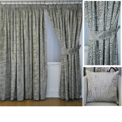 Pair of Choice of Colours Vivian Luxury Velvet Tape Top Jacquard Curtains