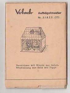 Vobach Aufbugelmuster Bastelbogen Laubsageabeit Pappe Bauernhaus