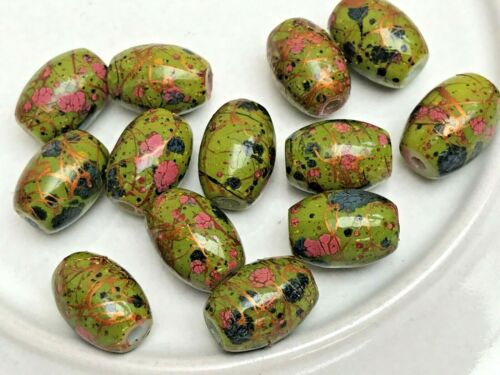 15 x tube de verre perles Bijoux Artisanat Multicolore Goutte à Goutte Art Design 11x8mm