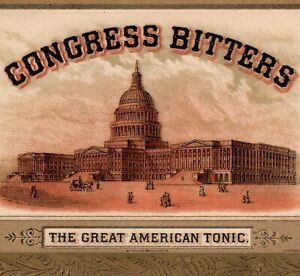 Congress-Bitters-1800-039-s-Kidney-Liver-Tonic-Patriotic-bottle-Victorian-Trade-Card