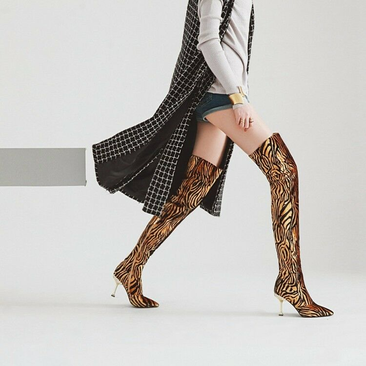 Womens Fashion Suede Leopard High Heel Over Knee Thigh High Boots Club shoes Sea
