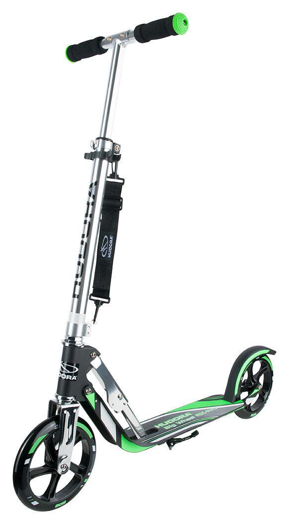 Hudora Big Wheel 205 RX-Pro Scooter Roller schwarz   grün 14708 01