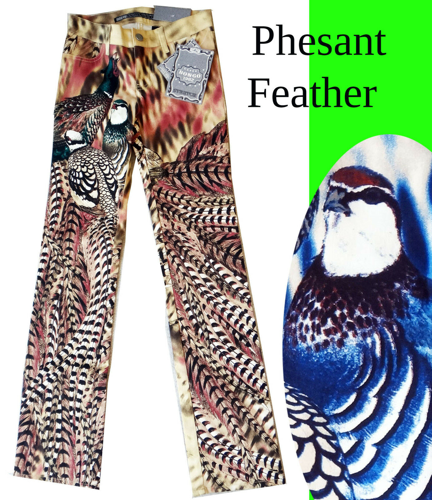 Pheasant Feather BIRD photo zebra stretch pant disco stripe tail hair 1984 bongo