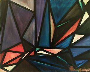 Quadro-Moderno-Astratto-Geometrico-Dipinto-olio-su-tela-firmato-XX-sec