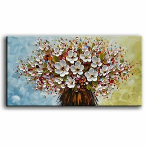 Hand-Painted-White-Flowers-Oil-Painting-On-Canvas-Textured-Floral-Wall-Art-Decor