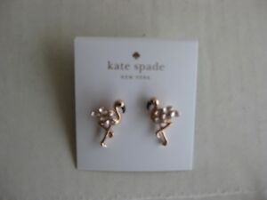 325a39af8d8d1 Details about NWT Kate Spade Bird's The Word Flamingo Earrings Rose Gold  Witty Plumy Bird