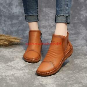 womens preppy style real leather soft bottom casual ankle