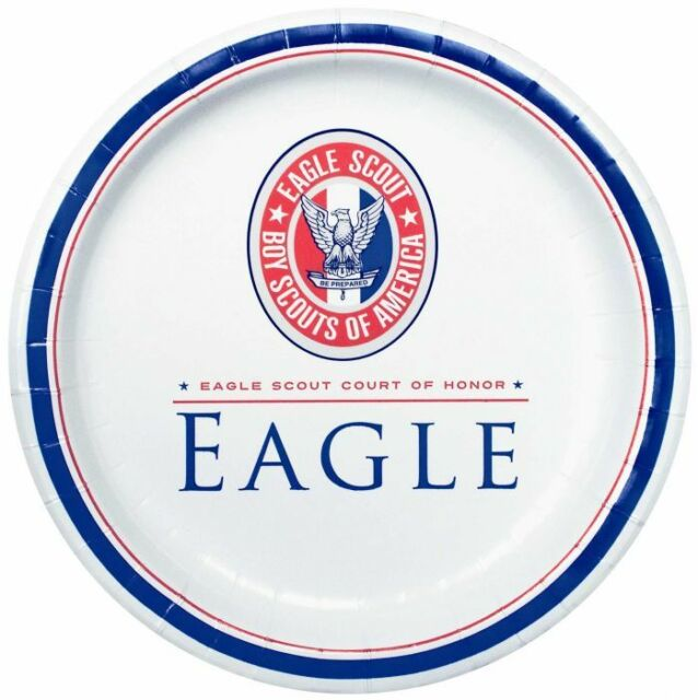 Boy Scout Official Eagle Scout Court of Honor 25 Lunch Plates Red White & Blue