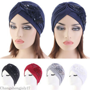 Flower-Hat-Cancer-Cover-cap-Headwear-Hair-Loss-Chemo-Beanie-Cap-Muslim-Turban