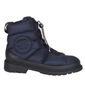 56188 Auth Chanel Navy Blue Down Amp Shearling Ankle Boots