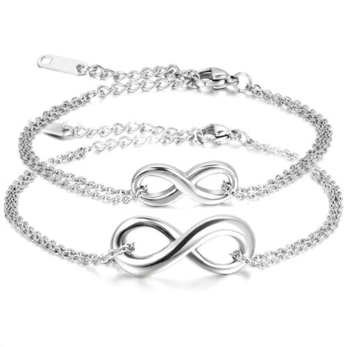 """Couple/'s Charm Infinity Love Symbol /""""8/"""" Stainless Steel Chain Anklet Bracelet US"""