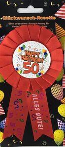 Rosette-50-Happy-Birthday-Party-Dekoration-Geschenk-Glueckwunsch-TOP