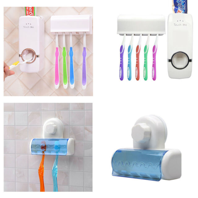 Toothbrush SpinBrush Suction Cups Holder Stand 2Racks Bathroom Wall Mount CF