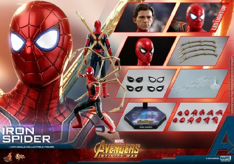 Hot Toys MMS482 Peter Parker Iron Spider Man 1 6 mâle Action Figure Collection