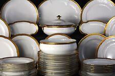 Porcelaine de Limoges, service de table, double dorure polie à l'agate